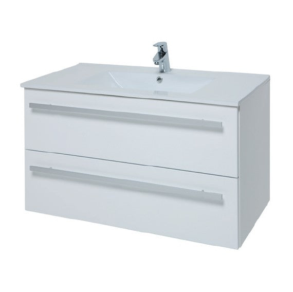 Kartell Purity 900mm Wall Mounted 2 Drawer Unit with Ceramic Basin - White