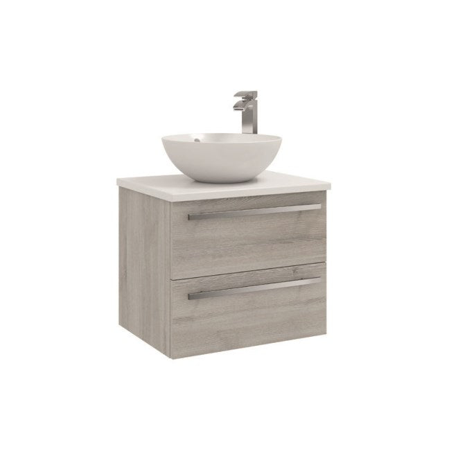 FUR025PU/433/435 Kartell K-Vit Purity 600mm Wall Mounted 2 Drawer Unit with Ceramic Worktop & Sit On Bowl - Grey Ash