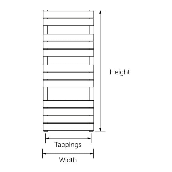 MEM500-1200 Kartell Memphis 500 Heated Towel Rail White 500 x 1200mm Technical Drawing