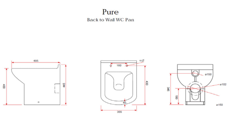 Kartell Pure Back To Wall Toilet with Soft Close Seat technical drawing