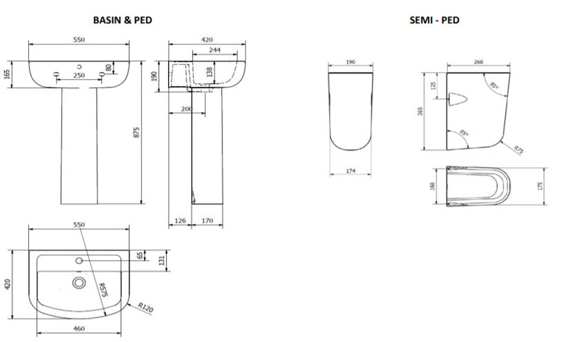 Kartell Studio Basins Technical drawing