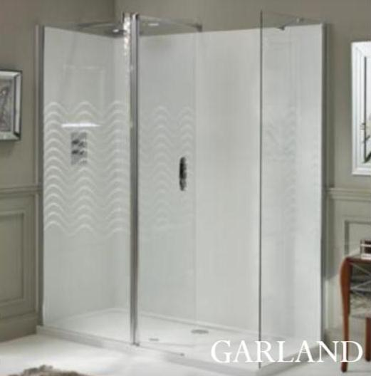 Laura Ashley 1200mm Walk in Panel Wetroom Screen Garland Patterned Glass
