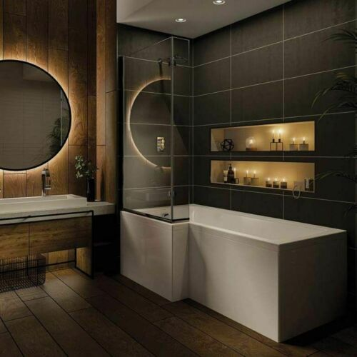 Whirlpool 1700mm L Shape Shower Bath 8 Jets, Panel and Screen