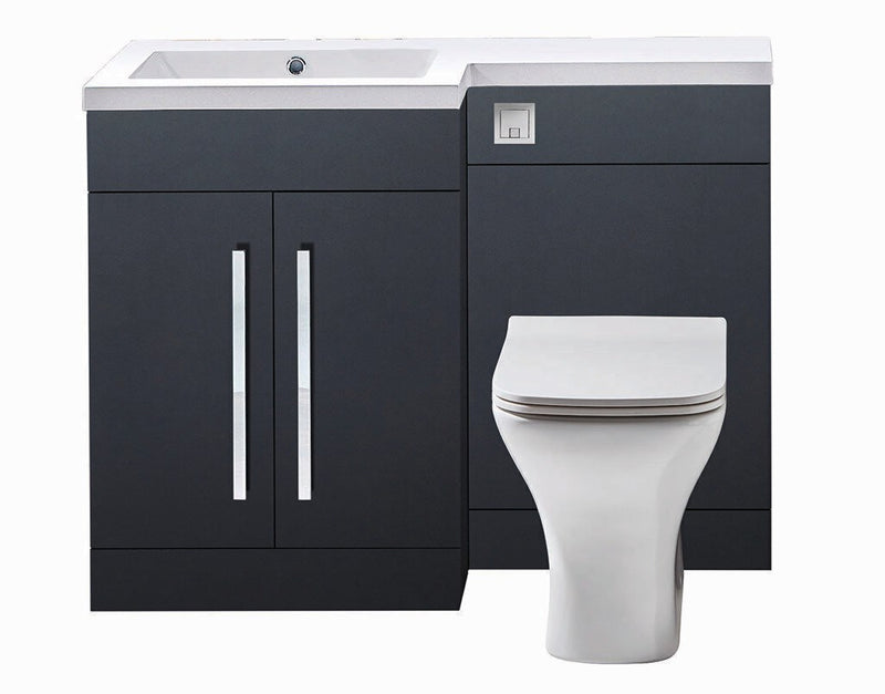 Lili L Shaped Furniture Pack Vanity & WC Unit Combined with 1 Piece Top Matt Grey Left Hand