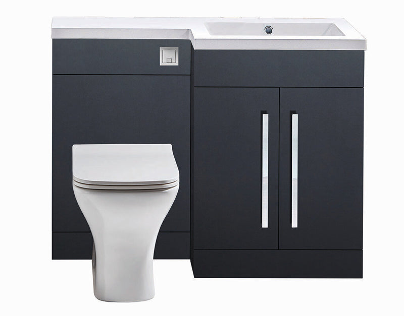 Lili L Shaped Furniture Pack Vanity & WC Unit Combined with 1 Piece Top Matt Grey Right Hand