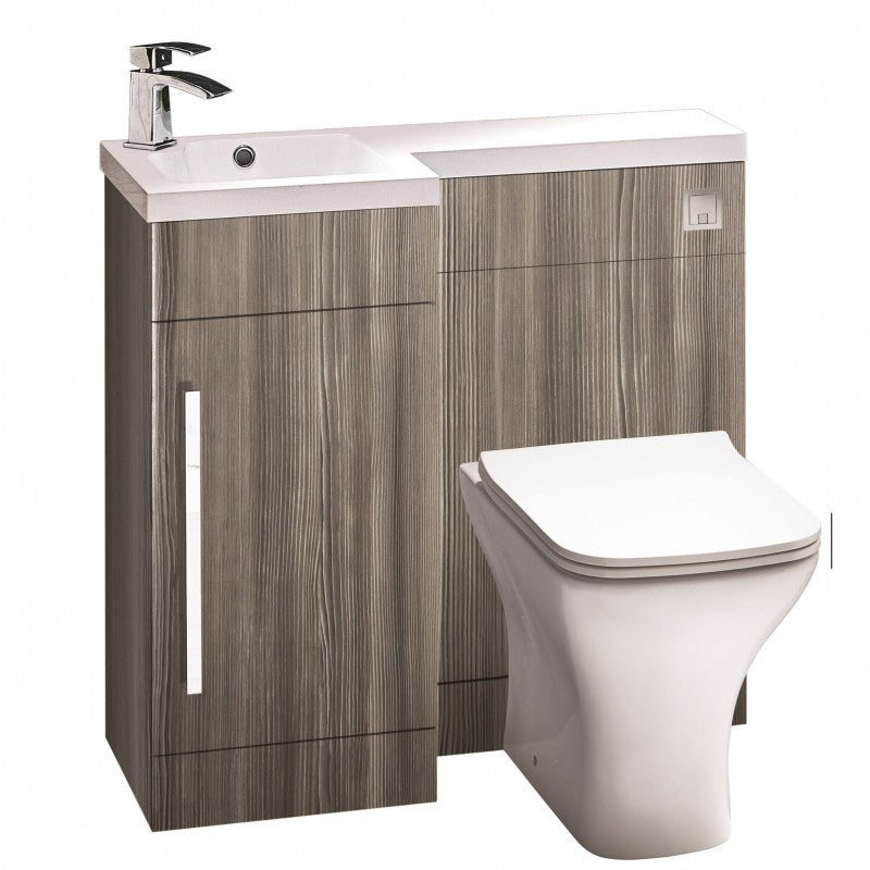 Lili 900mm L Shaped Furniture Pack Vanity & WC Unit Combined with 1 Piece Top Avola Grey Left Hand