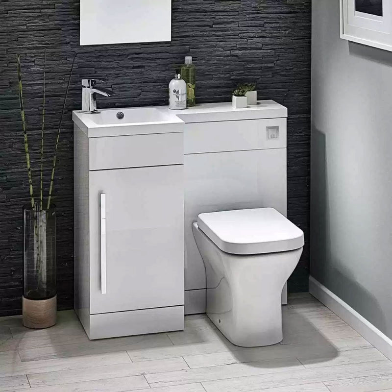 Lili 900mm L Shaped Furniture Pack Vanity & WC Unit Combined with 1 Piece Top White Gloss Left Hand