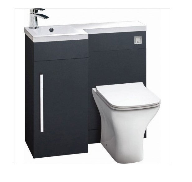 Lili 900mm L Shaped Furniture Pack Vanity & WC Unit Combined with 1 Piece Top Matt Grey Left Hand