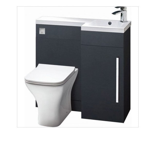 Lili 900mm L Shaped Furniture Pack Vanity & WC Unit Combined with 1 Piece Top Matt Grey Right Hand