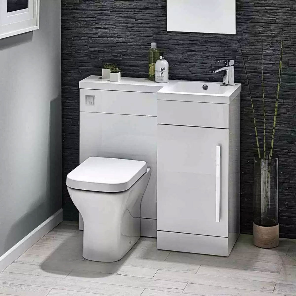 Lili 900mm L Shaped Furniture Pack Vanity & WC Unit Combined with 1 Piece Top White Gloss Right Hand