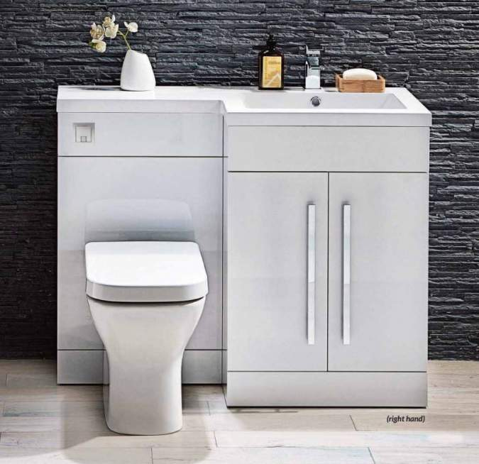 Lili L Shaped Furniture Pack Vanity & WC Unit Combined with 1 Piece Top White Gloss Right Hand