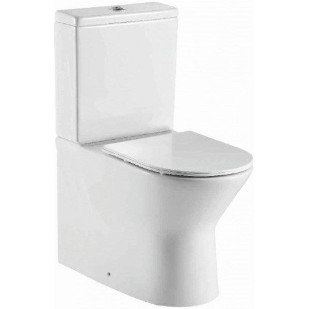 Middleton Rimless Flush To Wall Close Coupled Pan, Cistern And Fittings And Soft Close Seat