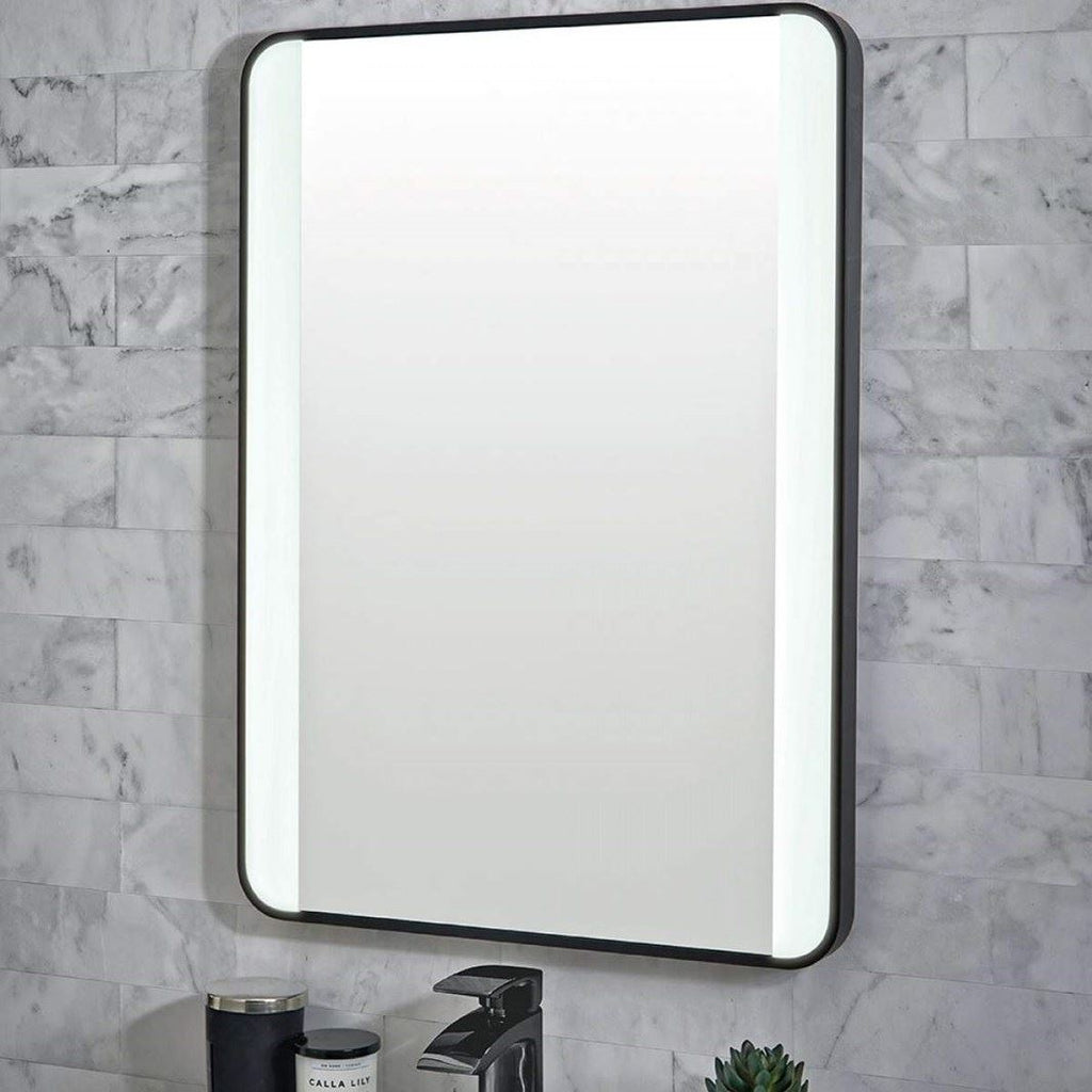 Mono Black LED Mirror 500 x 700mm with Demister, Colour Changing