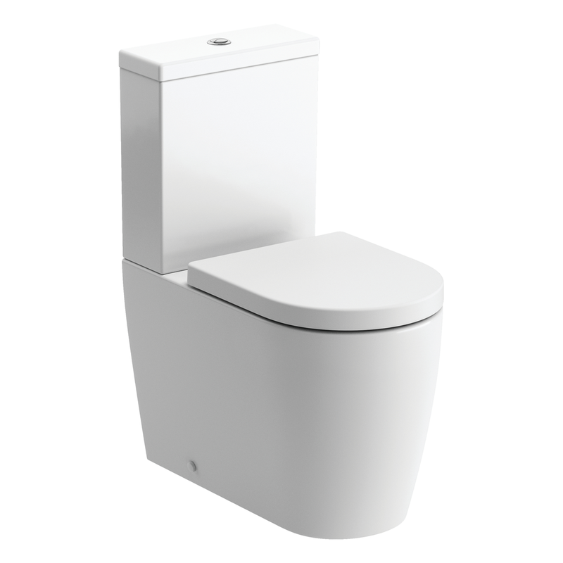 Cilantro Rimless Close Coupled Flush To Wall Toilet with Soft Close Seat