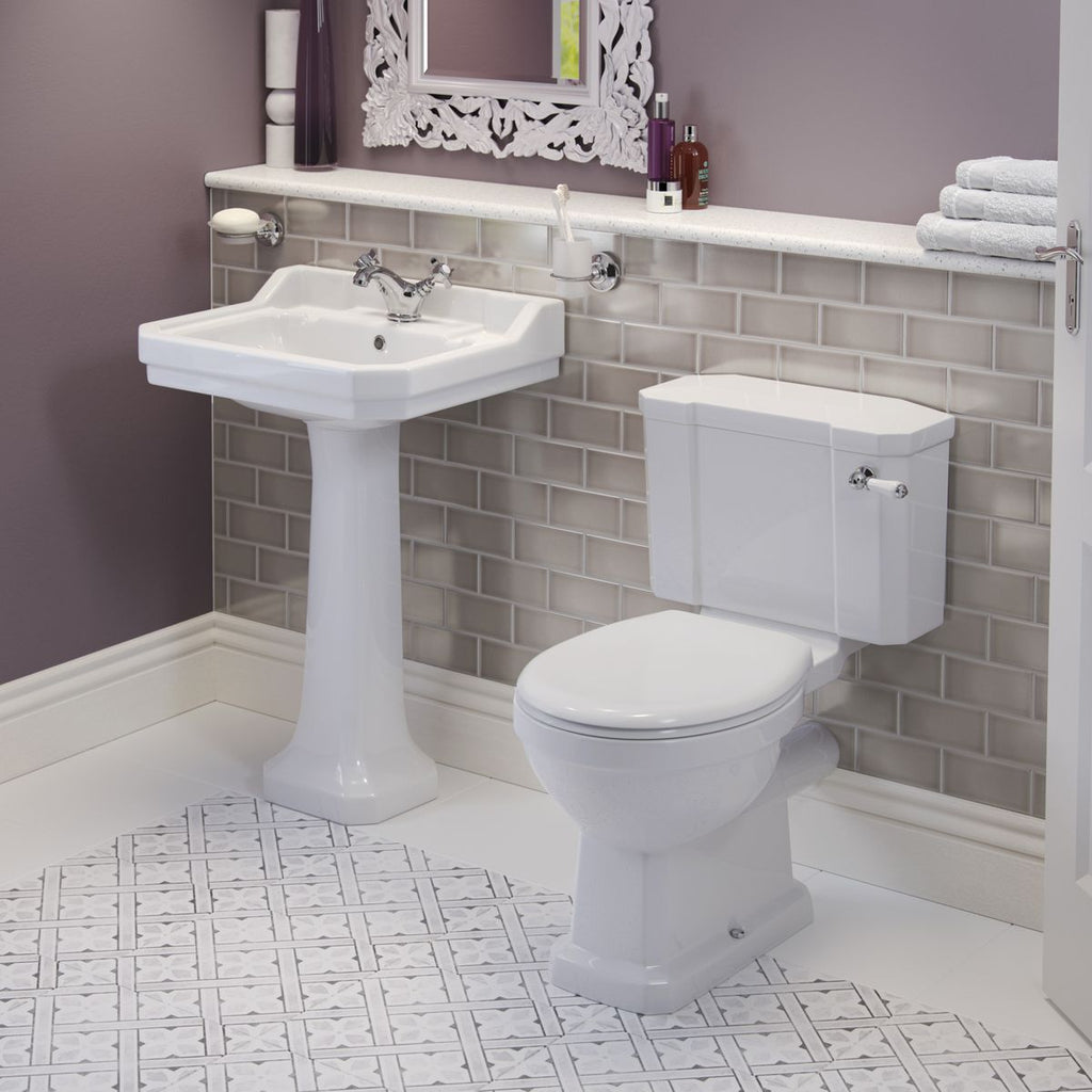 Harrogate Comfort Height Close Coupled Toilet, Basin and Full Pedestal