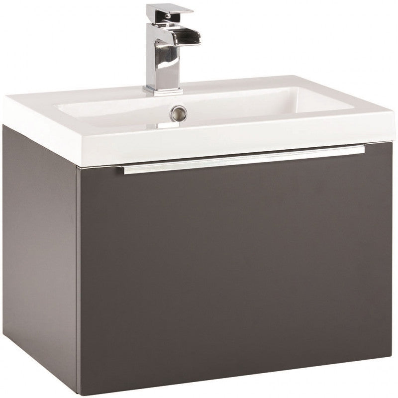 Muro 600mm Wall Hung Vanity Unit And Basin Matt Grey