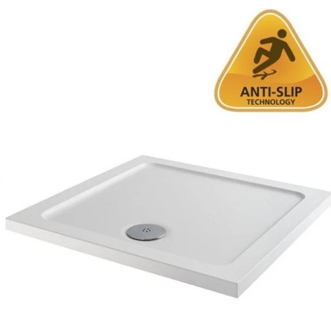 40mm MX Anti-Slip 900mm Low Profile Square Shower Tray with Fast Flow Waste