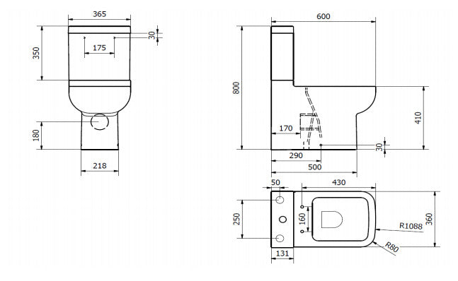 Options 600 Close to Wall Close Coupled Toilet with Soft Close Seat Technical Drawing