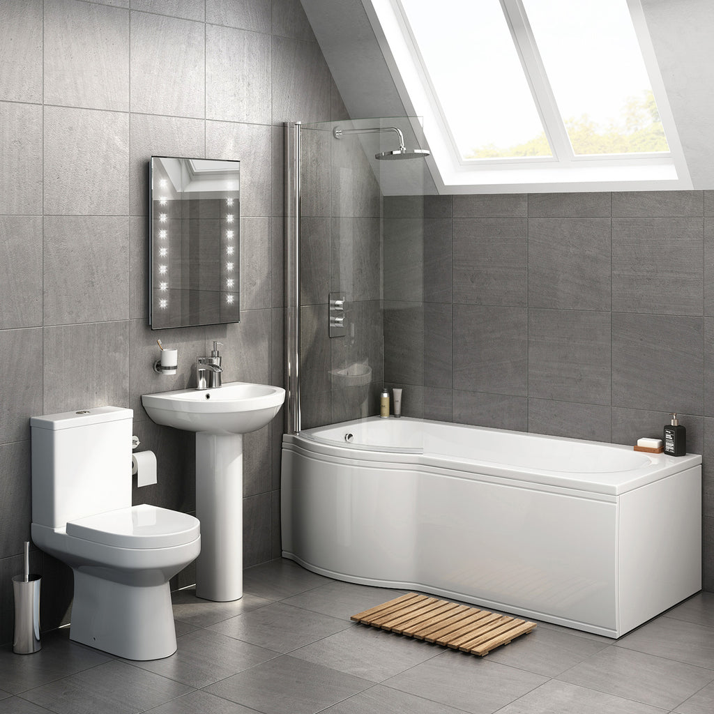 1675mm P Shape Bath Full Bathroom Suite