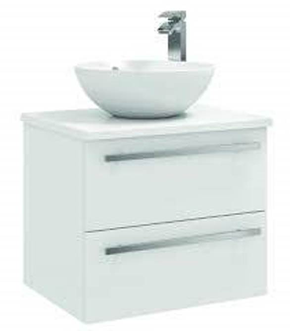 FUR022PU/433/435 Kartell K-Vit Purity 600mm Wall Mounted 2 Drawer Unit with Ceramic Worktop & Sit On Bowl - White