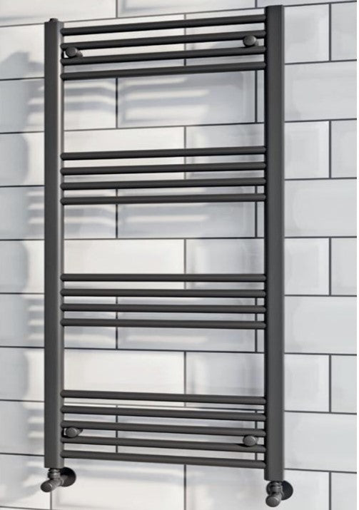Matt Black Heated Ladder Towel Rail 600 x 1200mm