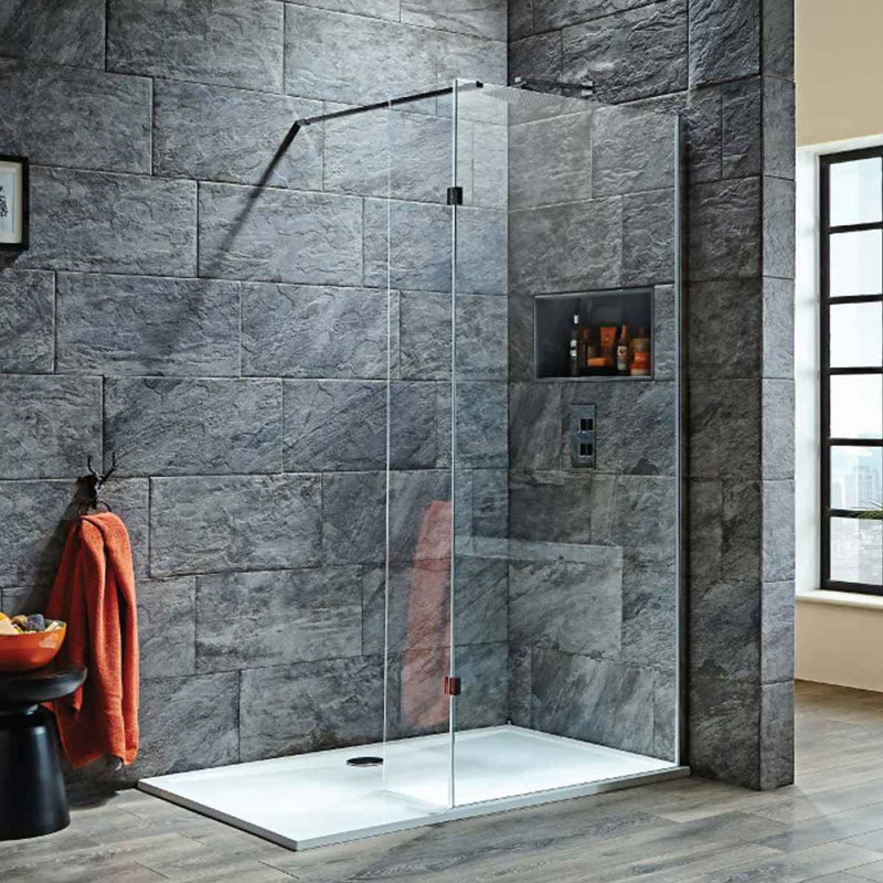 S8 Wetroom Panels 2000mm High in 8mm Easy Clean Glass choice of sizes and fittings