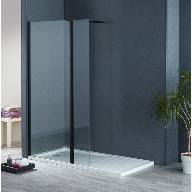 S8 Black Frame Walk In Wetroom Panels 2000mm High in 8mm Easy Clean Glass