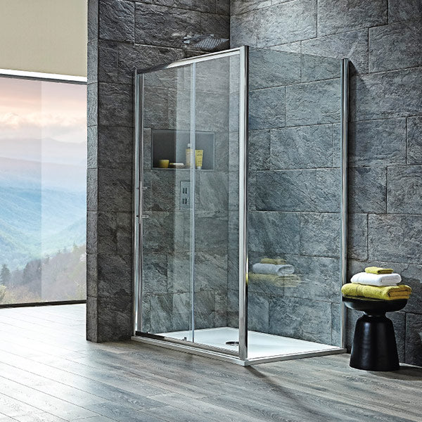 S8 1100mm x 800mm Sliding Shower Door Complete Enclosure 8mm Easy Clean Glass