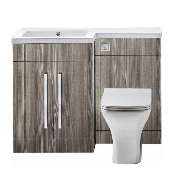 Lili L Shaped Furniture Pack Vanity & WC Unit Combined with 1 Piece Top Avola Grey Left Hand