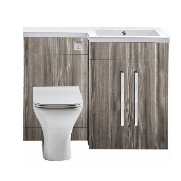 Lili L Shaped Furniture Pack Vanity & WC Unit Combined with 1 Piece Top Avola Grey Right Hand