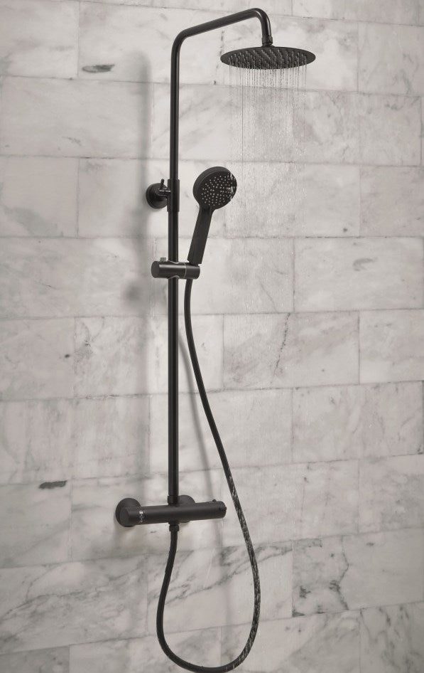 Black Middleton Rigid Riser Shower