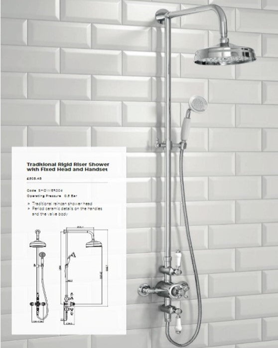 Harrogate Traditional Rigid Riser Shower