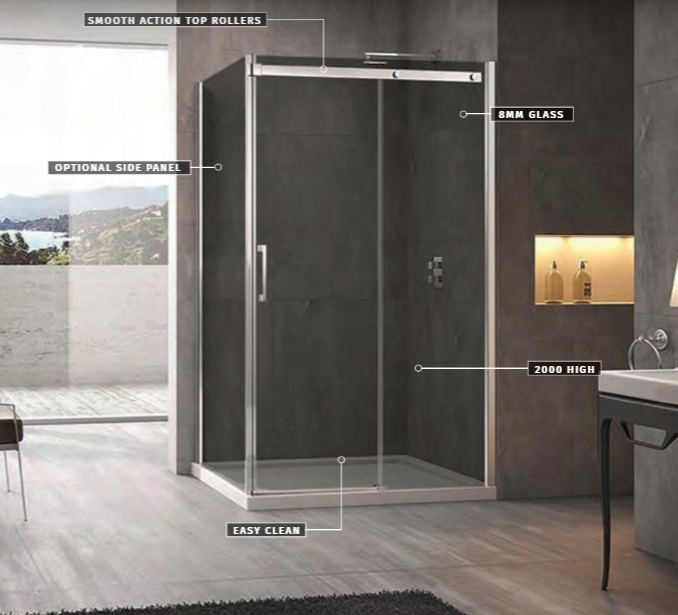 Linea Smoked Glass 1400mm Sliding Door Shower Enclosure  with 900mm Side Panel