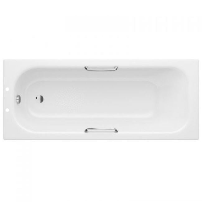 EUROWA STEEL SINGLE END BATH WITH GRIPS AND ANTI-SLIP 1700 X 700MM