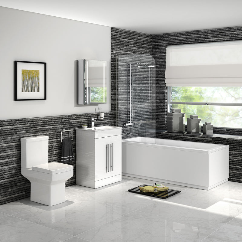 Solarna Complete Modern Bathroom Suite, Bath Vanity Toilet Taps Shower