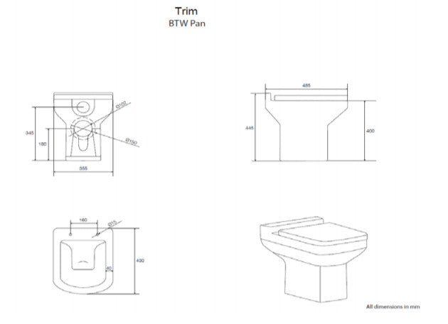 Kartell Trim BTW Toilet with Soft Close Seat Technical Drawing