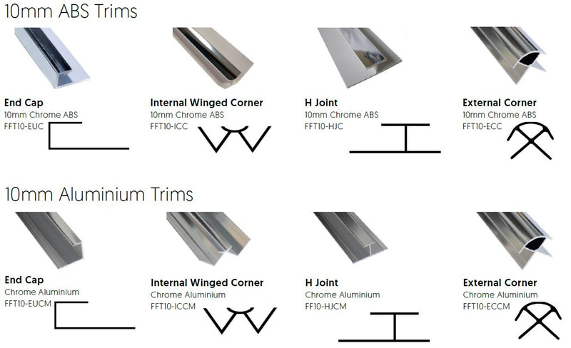 Chrome ABS External Corner Trim for 10mm PVC Wall Panels