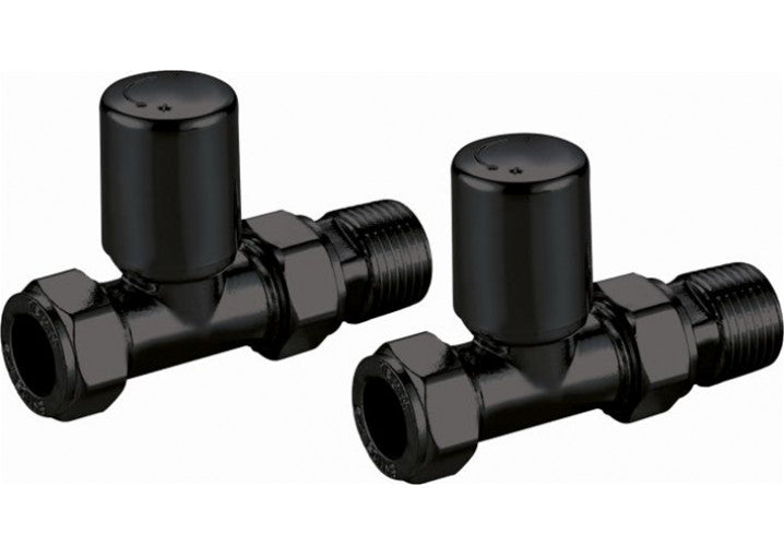 Black Modern Straight Radiator Valves (Pair)