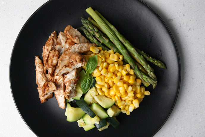 PROTEIN, ASPARAGUS, CORN & BABY MARROW