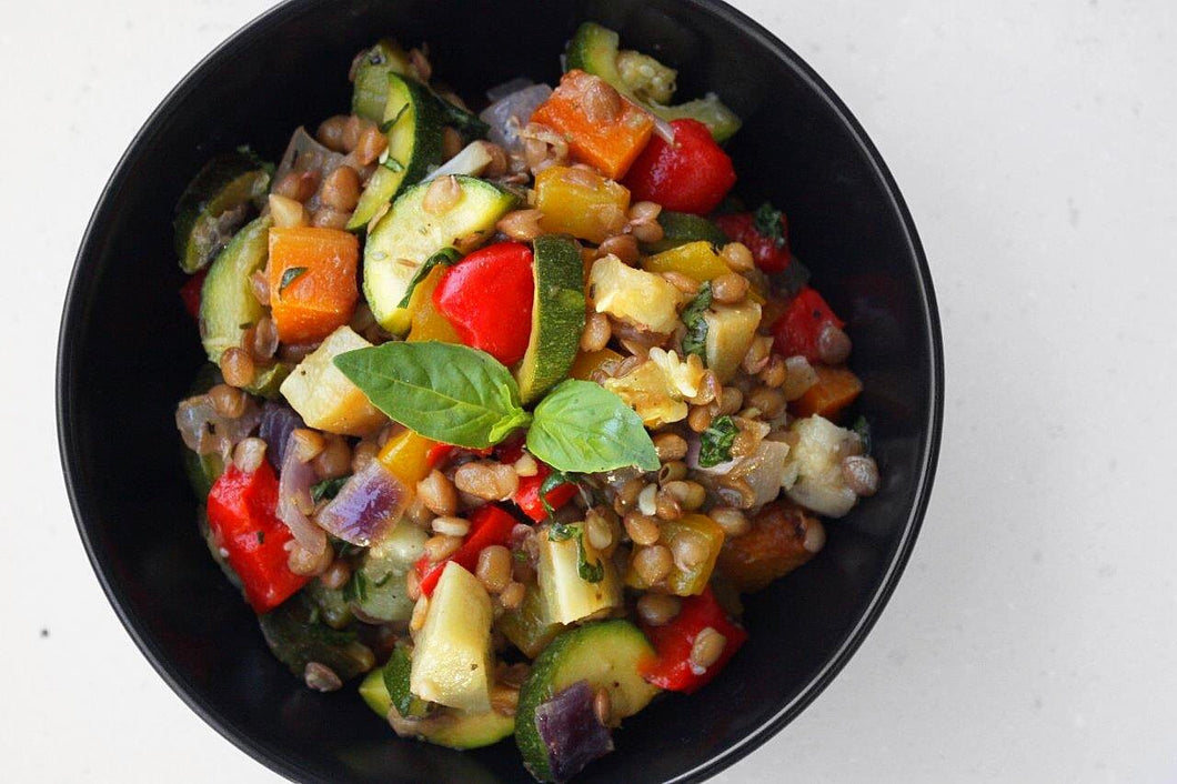 VEGAN ROAST VEG & LENTIL BOWL
