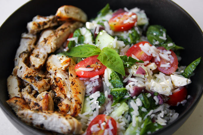 GREEK CHICKEN or CHICKPEA RICE BOWL