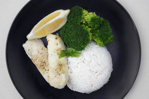 HAKE, BROCCOLI & RICE