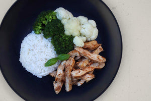 CHICKEN, BROCCOLI, CAULIFLOWER & RICE