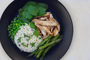 CHICKEN, ASPARAGUS SALAD & RICE