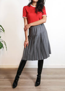 Wool Pleated Midi-Skirt - Made in Italy