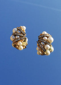 Vintage Pearls and Crystals Earrings