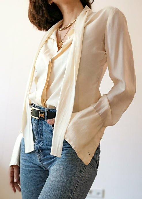 Vintage Off-White Shirt Pure Silk