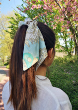 Baroque Print Silk Scarf Scrunchie by Suzy Dang