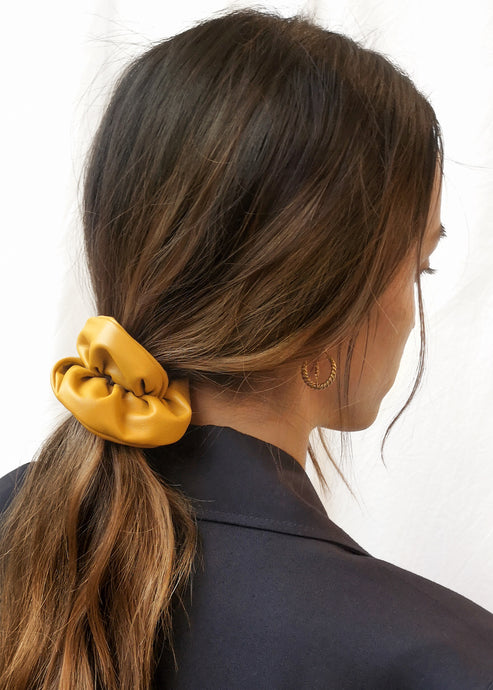 Mustard Vegan Leather Scrunchie by Suzy Dang