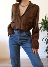Vintage Chocolate Pure Silk Shirt by Bianca Benini - Monte Carlo